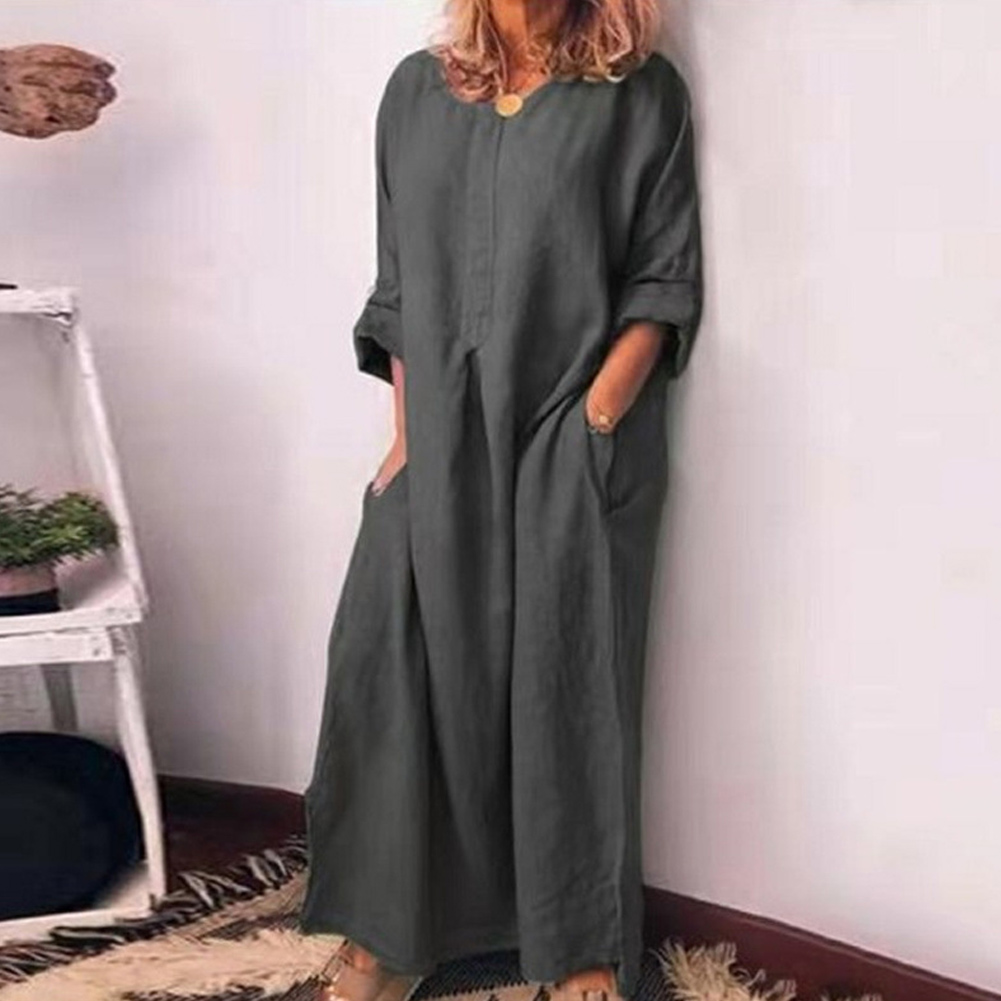 Fashion Women Bohemian Style Slim Up Maxi Dress Round Neck Solid Color Loose Linen Long Sleeve Autumn Holiday Dresses Vestidos