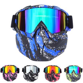 W stylu Vintage okulary motocyklowe Moto kask okulary Retro modułowe odpinany maska usta filtr Motocross okulary gogle motocyklowe tanie i dobre opinie RZOJUNMA Unisex MULTI Jasne Jeden rozmiar