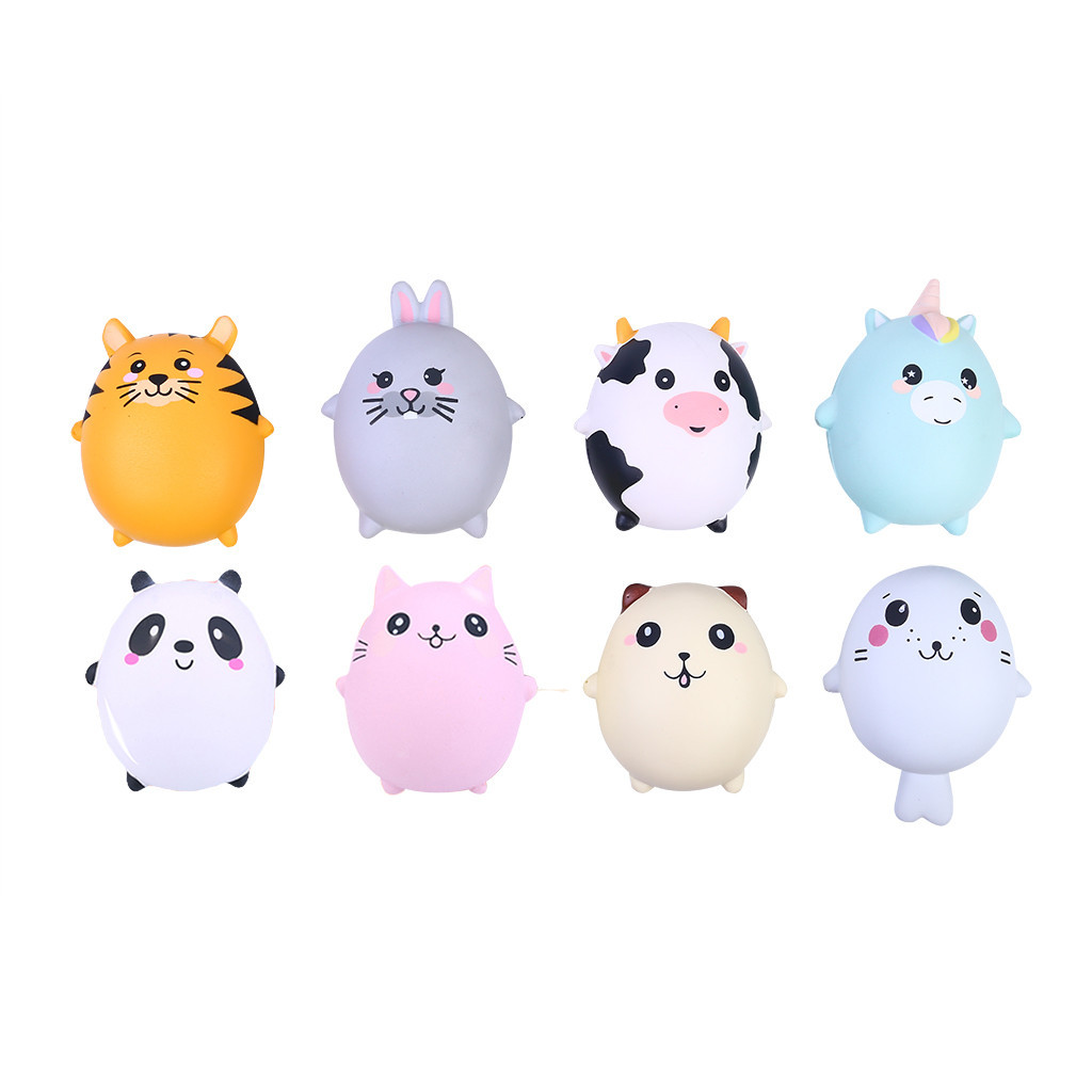 8 Pcs Adorable Animals Slow Rising Stress Relief Soft Novelty Toy Decompression Slow Rebound Toy Creative Anti-anxiety Toys #D