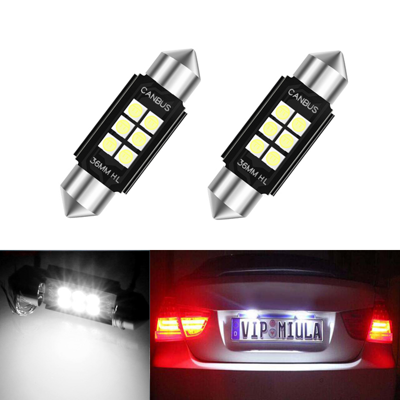 2x <font><b>LED</b></font> 36mm White CANbus C5W <font><b>Bulbs</b></font> 3030SMD <font><b>Interior</b></font> Lights License Plate Light For <font><b>BMW</b></font> E39 E36 E46 E90 <font><b>E60</b></font> E30 E53 E70 image