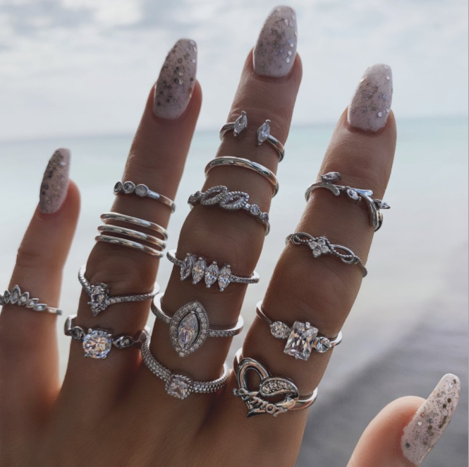 Tocona 15 Pcs/Set Bohemian Retro Crystal Silver Ring Set Women Knuckle Ring Crystal Ring Wedding Anniversary Gift 8946