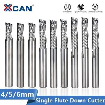XCAN Single Flute Down Cutter 4/5/6/8mm Shank Left Hand Super Aluminum Cutting Down Cutter Carbide Spiral End Mill