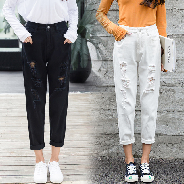 Mom Jeans Denim Crop Ankle Length White Black High Waisted Ripped Jeans For Women Vintage Ladies Boyfriend Baggy Loose Pants 019 1