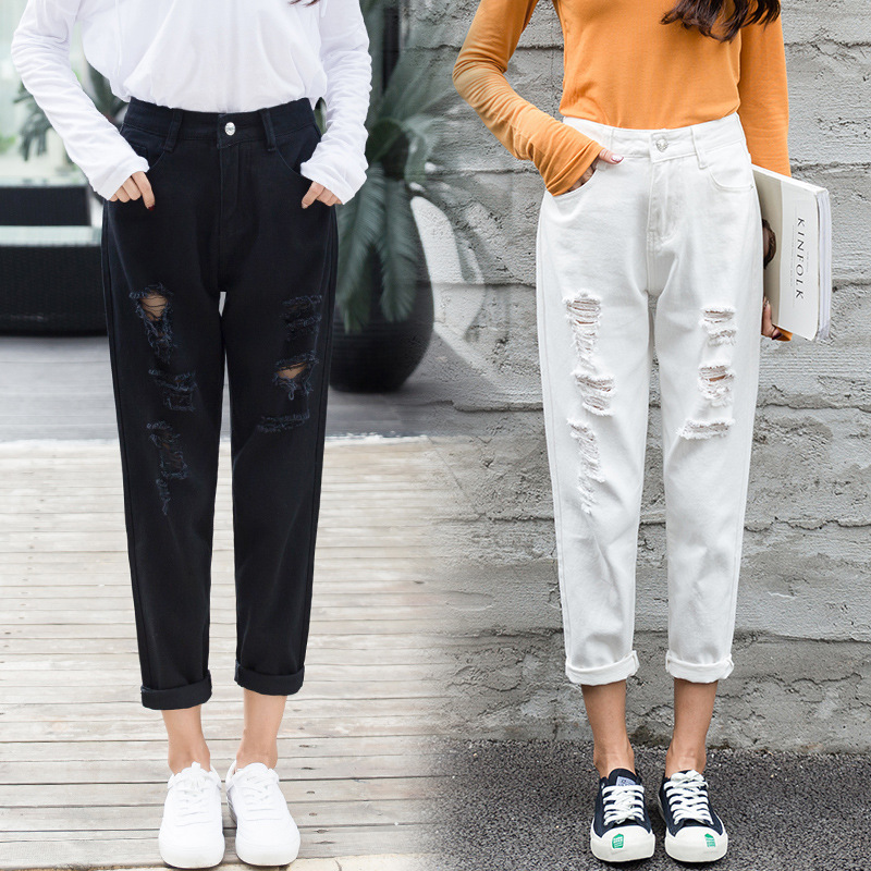 Mom Jeans Denim Crop Ankle Length White Black High Waisted Ripped Jeans For Women Vintage Ladies Boyfriend Baggy Loose Pants 019