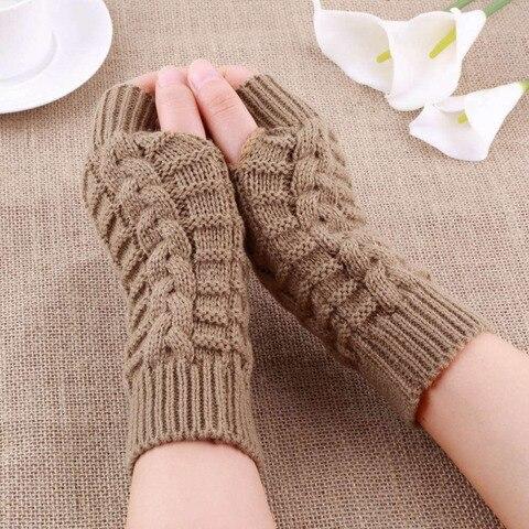 Autumn Winter Women Warmth Knitted Arm Fingerless Gloves Long Stretchy Mittens Men Women Winter Hand Arm Warm Female Gloves Islamabad