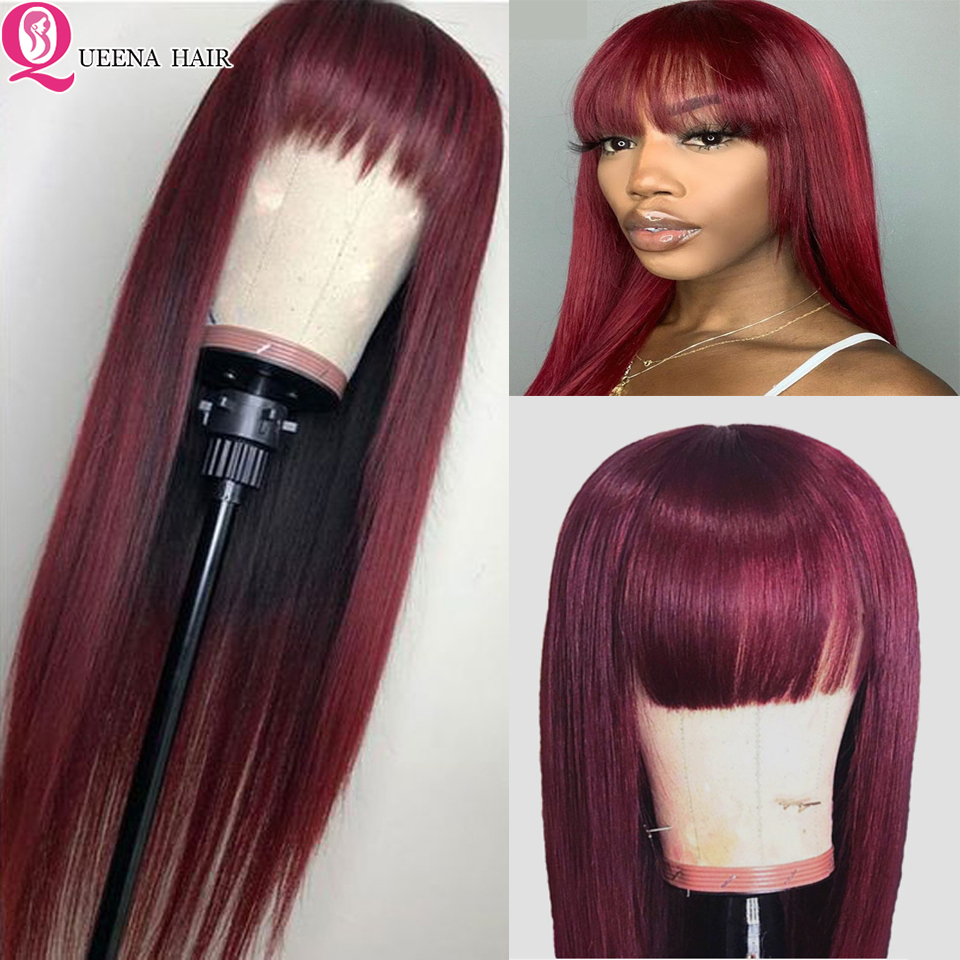 99j Lace Front Wig With Bangs 13x4 Straight Burgundy Colored Lace Wig Pre Plucked Brazilian Human Hair Wigs For Black Women Remy