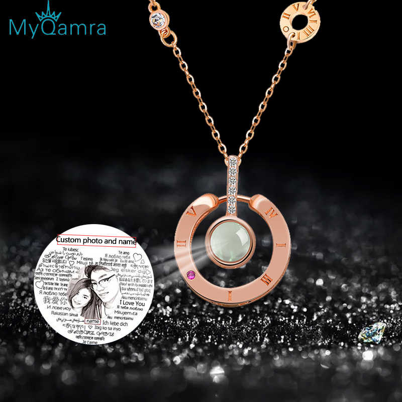 MYQAMRA s925 Silver Necklace Jewelry  Projection Pendant Gold chain For Women Gift Wedding Custom  Personalized Name Necklaces