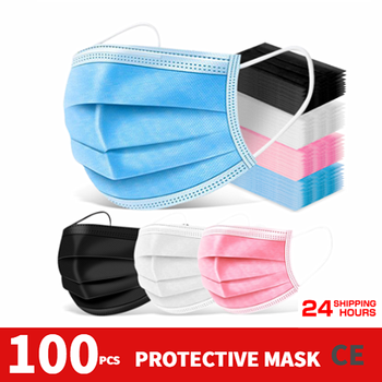 100PCS FFP2 face mask One-use Mask Dustproof Anti-fog Breathable 3-Layer Mouth Face Masks For Face Shield Mascarillas