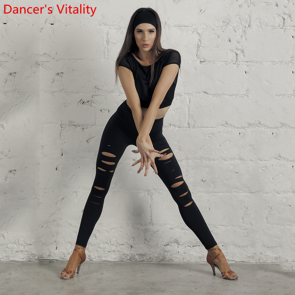 Latin Dance Wear Practice Clothes Adult Women Sexy Slim Fit Cut Out Pants Rumba Cha Cha Salsa Foxtrot Dancers Training Trousers