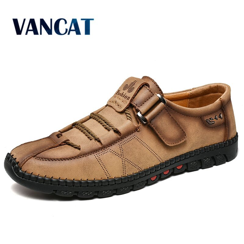 Comfortable Men Casual Shoes Loafers Men Shoes Quality Split Leather Shoes Men Flats Hot Sale Moccasins Shoes Plus Size 38-48