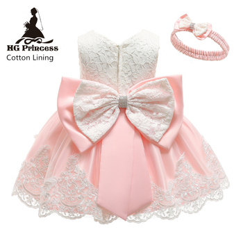 2019 New Baby Dress Lace  Bow Flower Christening Gowns Baptism Clothes Newborn Kids Girls Birthday Princess Infant Party Costume with hat baby christening dress empire waistline short sleeves lace appliques ruffled baby girl baptism birthday gowns hot sale