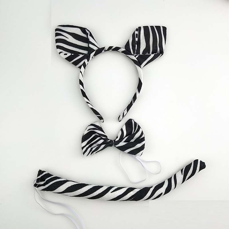 Kids Adult Cartoon Animal Zebra Ear Headband Headwear Tail Tie Birthday Party Cosplay Costume Halloween Christmas Props Carnival