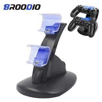 PS4 Controller Charger Stand Station For Sony Playstation 4 PS4/PS4 Pro/PS4 Slim Game Controller Dual USB LED ps 4 Charging Dock pad ps4 game controller ps4 bluetooth connection with touch pad elite controller ps4 game handles for ps4 console with 500mah
