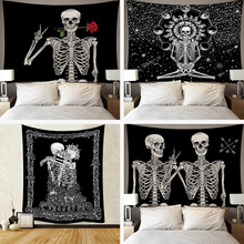 Skull Tapestry Hippie Wall Hanging Wall Tapestry Carpet Psychedelic Witchcraft Cloth Tapestries Decor Bedroom Bedspread flower skull wall hanging tapestry