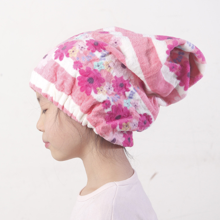 Cap Factory Spot Wholesale Class A Formaldehyde-free Cartoon Printed Cotton Terry Cloth Dry Hair Shampoo Cap At Home