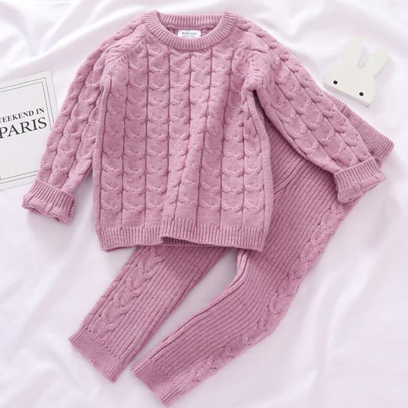Autumn Toddler Boys Girls Clothing Set Sweater + Pants 2pcs/Suit Infant Boys Knit Suit Thick Warm Winter Baby Girls Boys Clothes 3