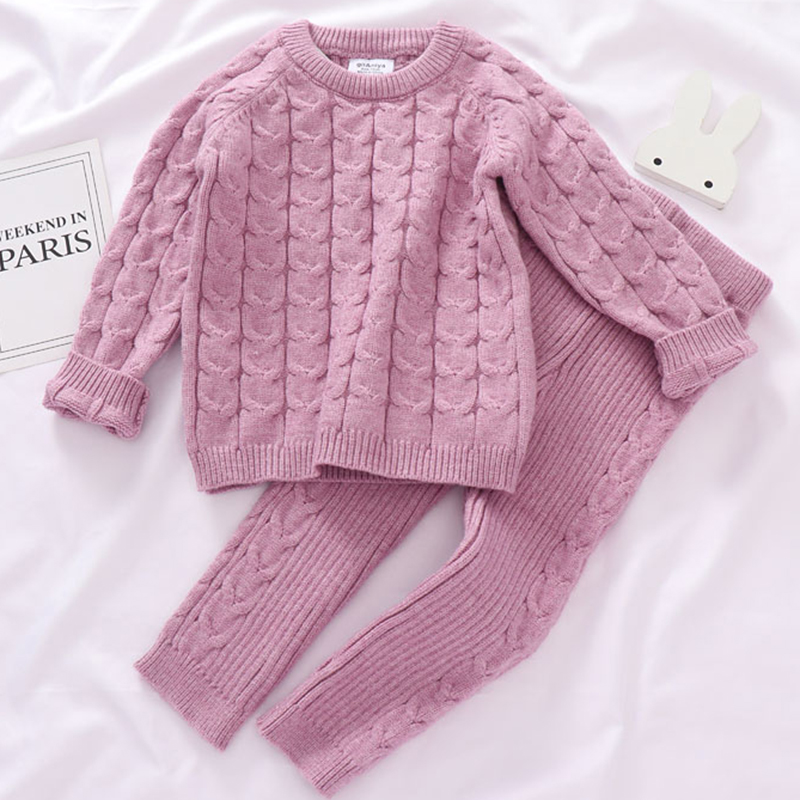 0-4 Yrs Girls Boys Suit Fall Baby Boys Girls Clothing Sets Winter knitting Pullover Sweater+Pants Infant Boys Knit Tracksuits