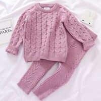 0-4 jahre Mädchen Jungen Anzug Herbst Baby Jungen Mädchen Kleidung Sets Winter stricken Pullover Pullover + Hosen Infant jungen Stricken Trainingsanzüge