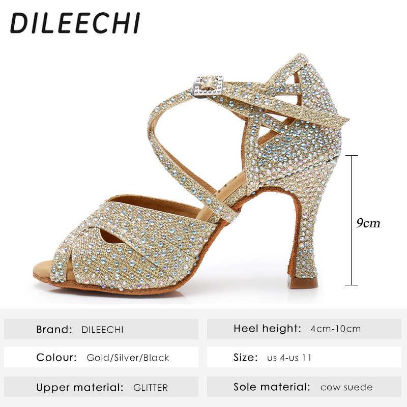 DILEECHI Latin Dance รองเท้าเงินขนาดใหญ่ Rhinestone Glitter ผู้หญิงแฟลช Ballroom รองเท้าเต้นรำ PARTY Salsa รองเท้านุ่ม