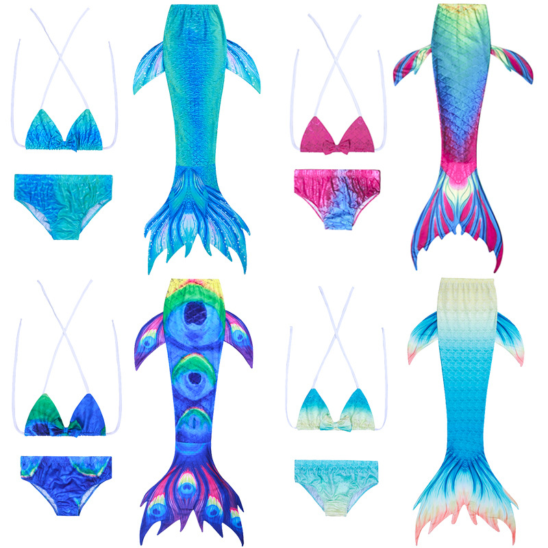 2019 Hot Selling New Style Mermaid Tail Clothing Princess Children Small Mermaid Swimsuit Three-piece Set