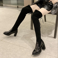 Over the Knee Boots Women Shoes Woman Boots Fashion High heeled PU Flock Stretch Boots 2019 Winter New Short Fur Warm Boots X482