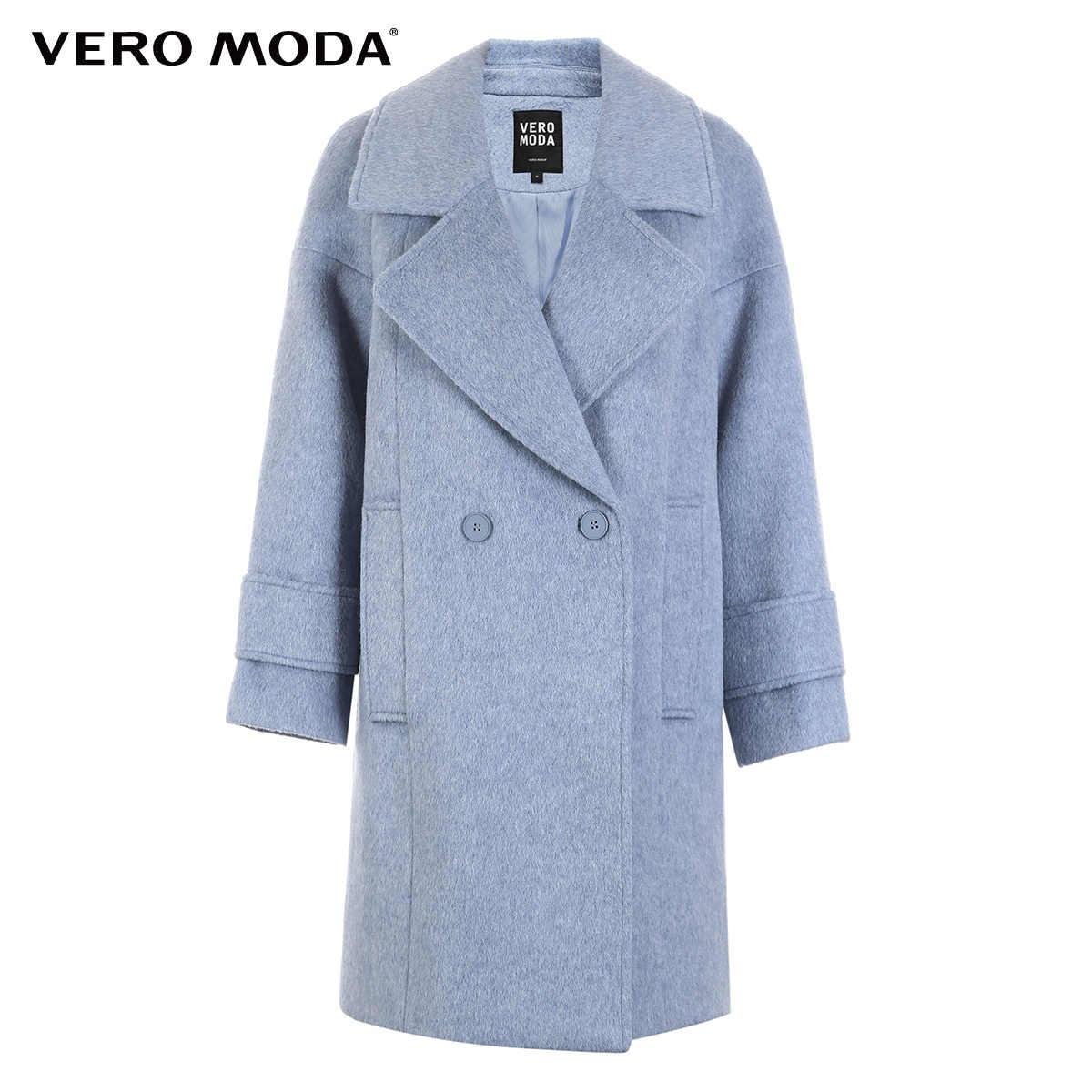 معطف نسائي من Vero Moda بكتف منسدل وطويل من الصوف الخالص | 318327518
