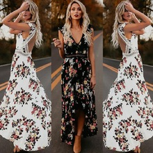 ZOGAA Women Maxi Irregular Hem Boho Dress Summer Floral Print Sexy V-Neck  Dresses Holiday Bohemia Long Ladies Party Dress