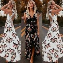 ZOGAA femmes Maxi ourlet irrégulier Boho robe été imprimé fleuri Sexy col en v robes vacances bohême longue dames robe de soirée