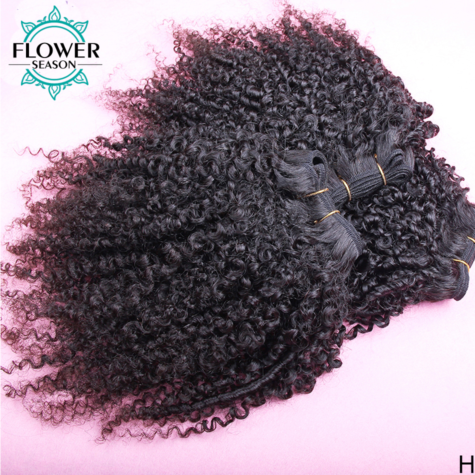 Afro Kinky Curly Hair Weave 1-2-3-4 Bundles Deal Indian Remy Hair 100% Human Hair Extension 8-26 Inch Natural Color Flowerseason