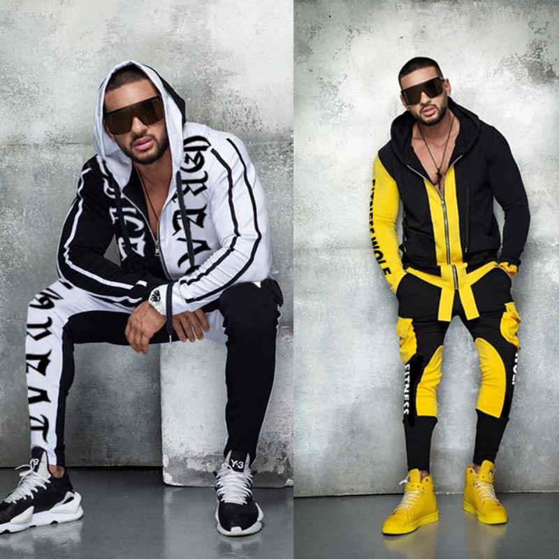 New Autumn Winter Men Fashion Casual Sweatsuit Men Jogging Suit Long Sleeves Hoodies Tracksuit Men Sport Sets Zip Hooded Pocket