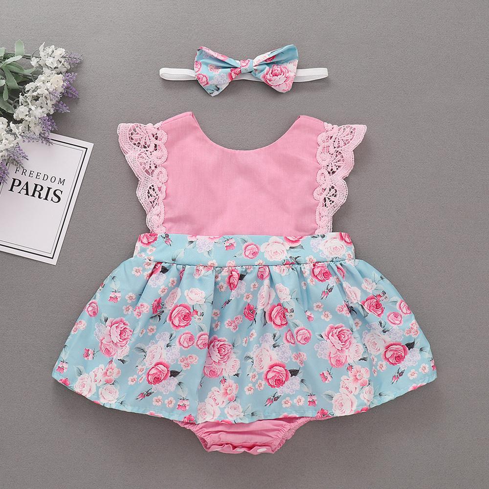 Newborn Girls Briefs Romper Infant Baby Floral Print Lace Sleeveless Cotton Infant Romper Infant Baby Summer Jumpsuit B2