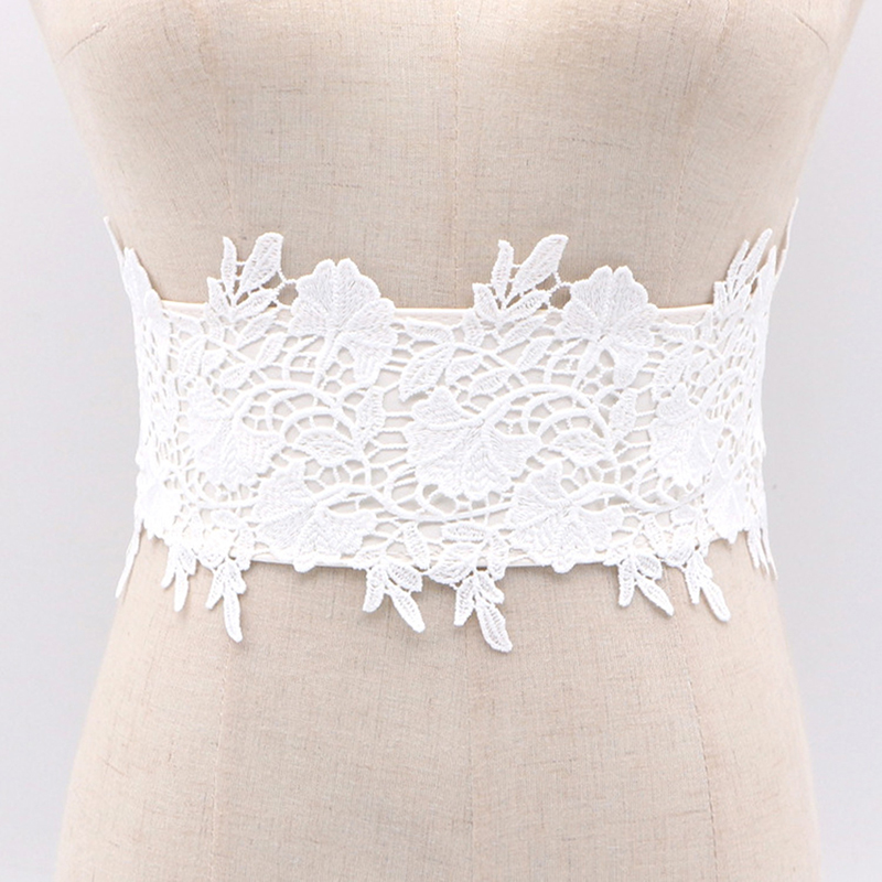 Women Fashion Lace Elastic Belt Cummerbunds Black Wide Corset Tie For Women Wedding Dress Belt Decorated Cummerbunds Feminina