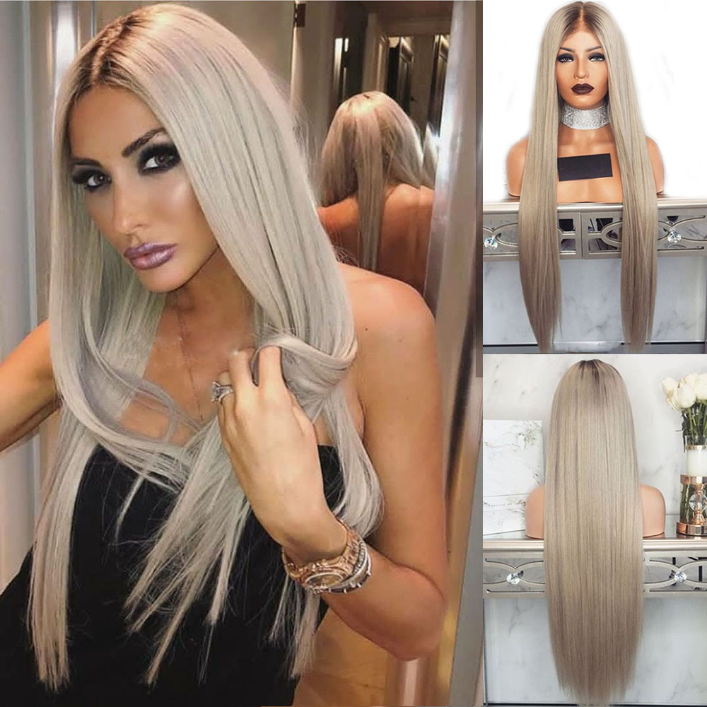 Eversilky 613 Wavy Ombre Platinum Wig 13x6 Lace Front Human Hair Wigs Pre Plucked Straight Ash Blonde Full Lace Wig Brazilian image