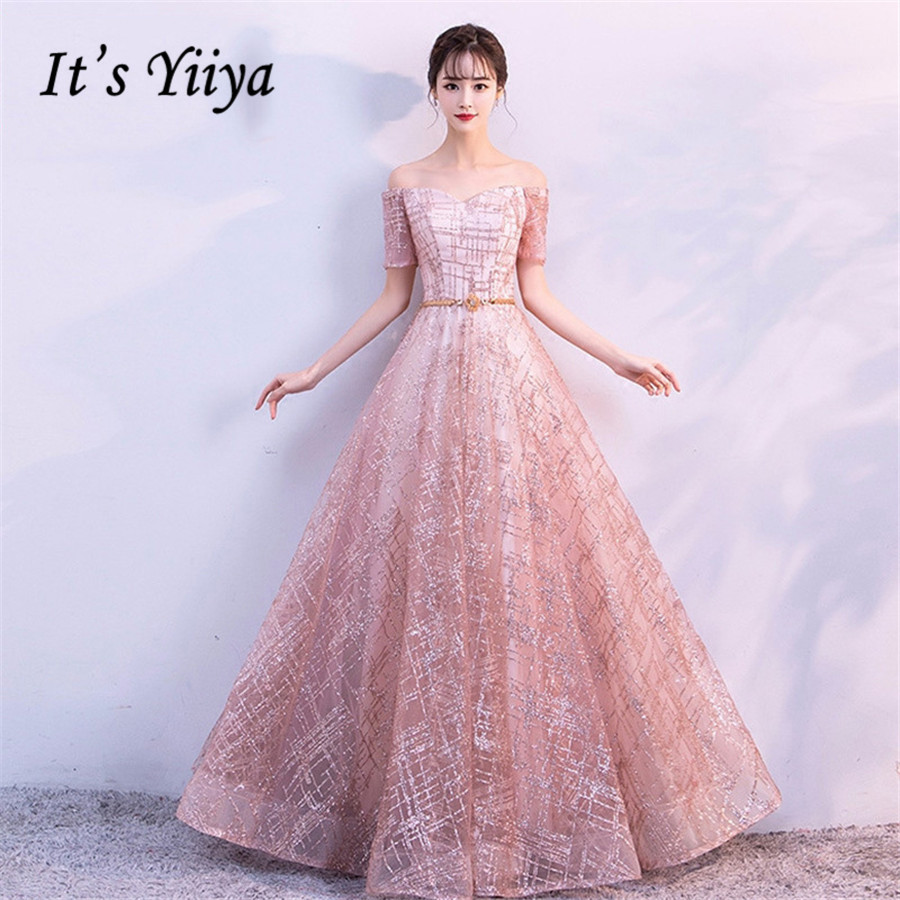 It's Yiiya Evening Dress For Women Short Sleeve Formal Dresses Elegant Plus Size Boat Neck Long Robe De Soiree 2020 E1310