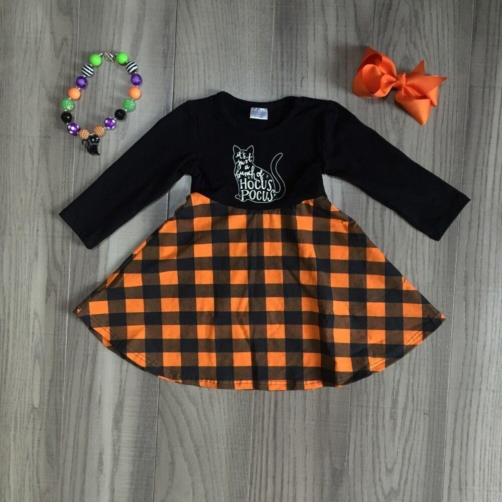 Baby Girls Clothes Children Fall Dress Kid Halloween Plaid Dress Girls Long Sleeve DRESS Cute Cat Dress With Accessories