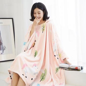 Winter Thick Sofa Comfy TV Blanket Hoodie Sweatshirt Weighted Throw Blanket Fuzzy Fleece Plaid Blanket Fleece Blanket Adult Kids 3