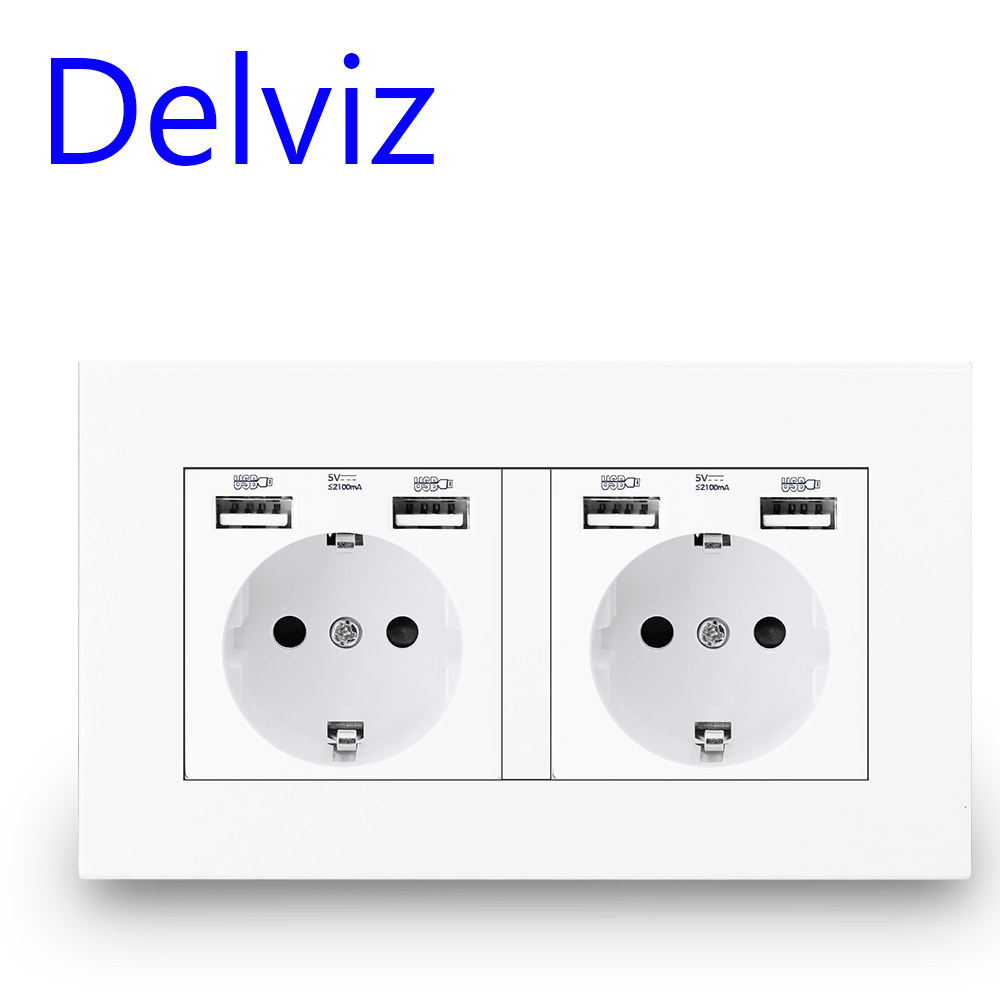 Delviz EU Standard USB socket 16A Power OutletPower panel Four usb interface German type socketDouble frame Wall 4 USB Outlet