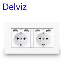 Delviz EU 표준 USB 소켓, 16A 전원 콘센트, 전원 패널 4 개의 usb 인터페이스 독일어 유형 소켓, 이중 프레임 벽 4 개의 USB 콘센트