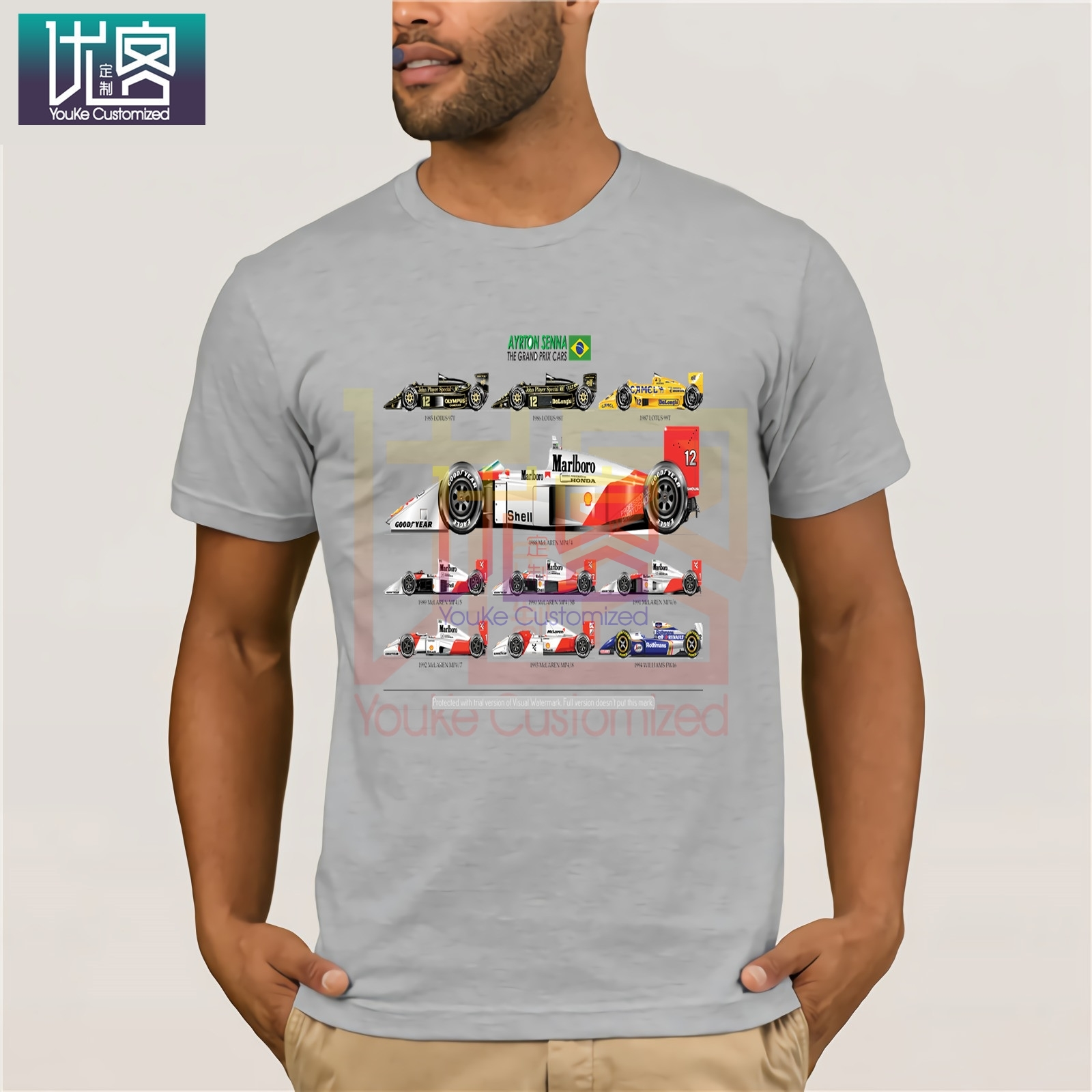 Man's All The Cars Ayton Senna Formula 1 Racing Car <font><b>F1</b></font> <font><b>T</b></font>-<font><b>Shirt</b></font> Crew Neck Short Sleeve Tops Pure Cotton Tee <font><b>Shirt</b></font> for Men Tops image