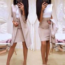 Skirt Suit Dress Blazer Jacket Office Mini Women Long Slim 2pcs Bodycon Autumn Solid-Color