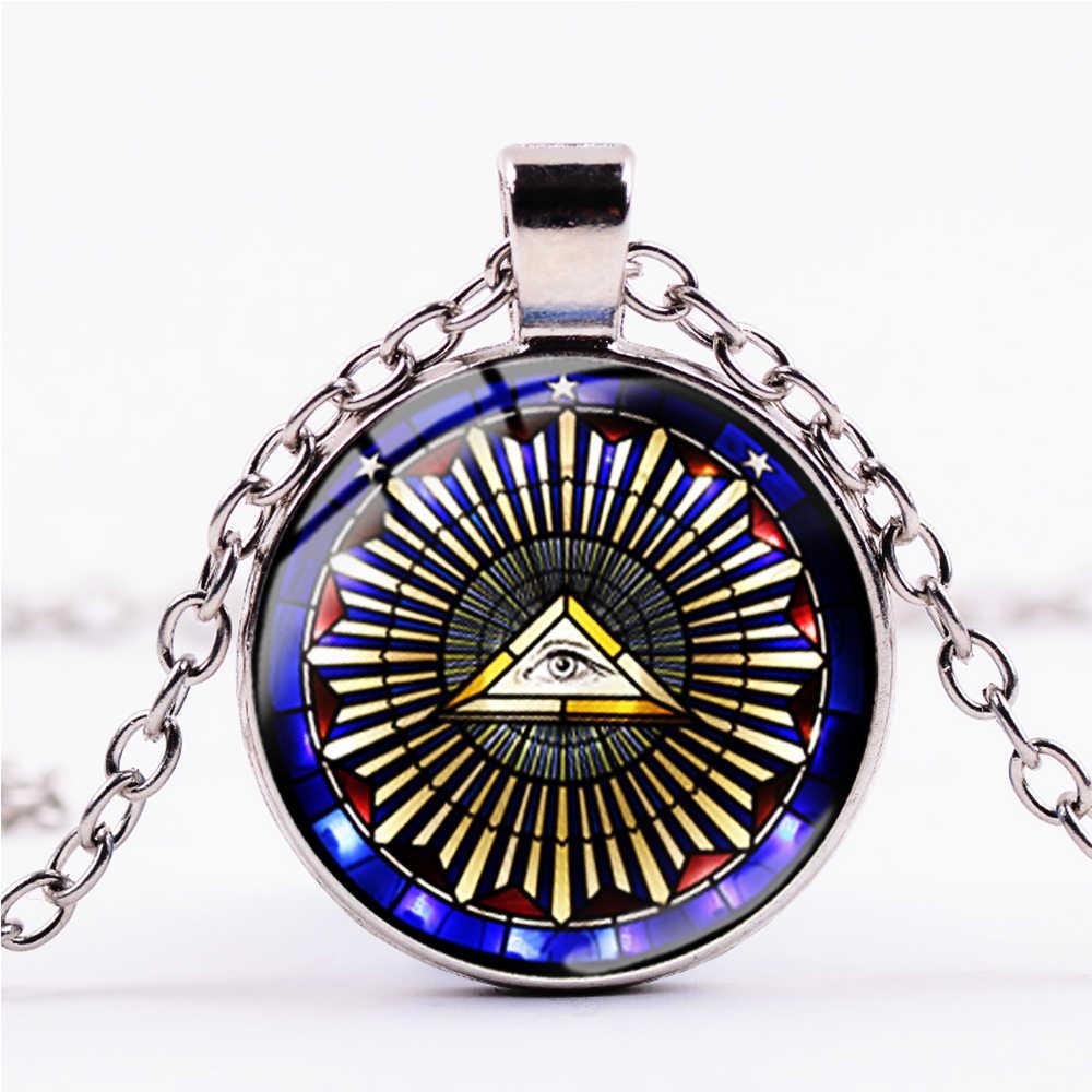 SONGDA Vintage símbolo masónico collar de Illuminati libre masón pirámide ojo signo Steampunk cristal moda hombres mujeres gargantilla joyería