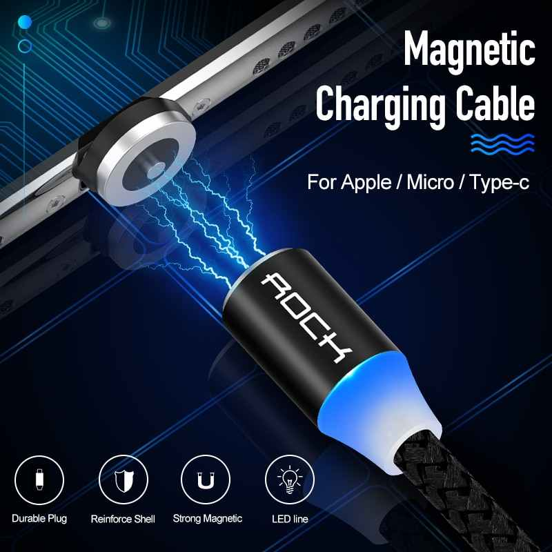 ROCK สาย Micro USB Type C สำหรับ iPhone 11 PRO MAX 8 Samsung Xiaomi 1 M Fast CHARGING magnetic Charger สาย USB