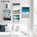 Скандинавское украшение, картина, стеновое искусство, постер, океанские волны, морской пляж, пейзаж, холст, принт, картина, скандинавский Дек...