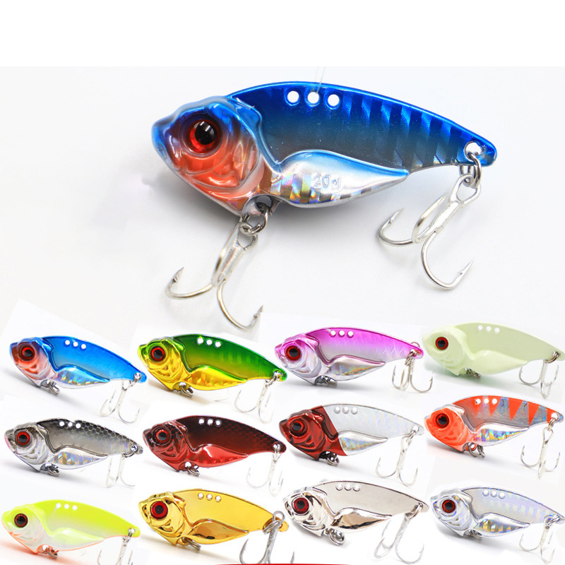 7/10/15/20g 3D EyesMetal Vib Blade Lure Sinking Vibration Baits Artificial Vibe for Bass Pike Perch Fishing 12 Colors