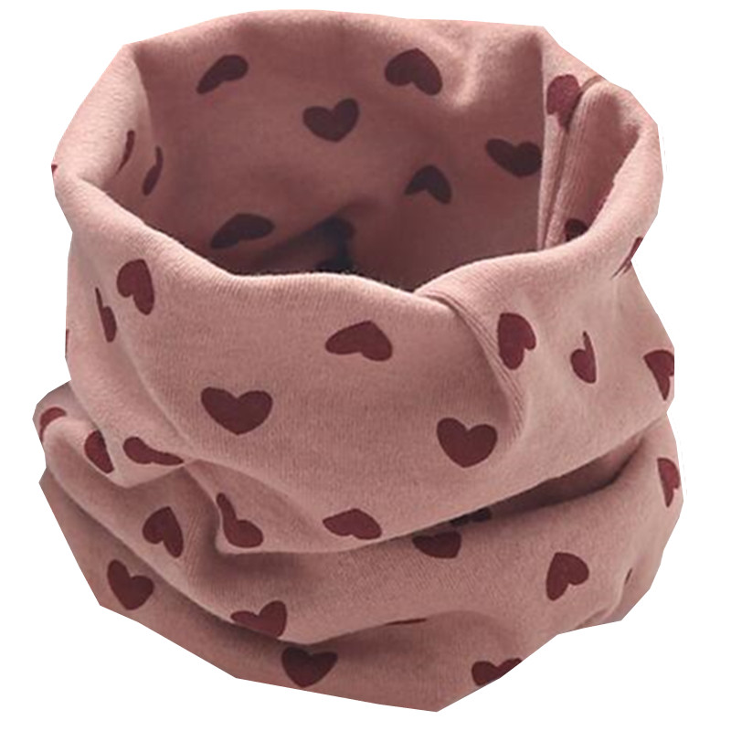Осенне-зимний детский хлопковый плюшевый шарф, детский шарф для девочек, шарфы для мальчиков и девочек, детский воротник, детский волшебный шейный платок с круглым вырезом - Цвет: red heart