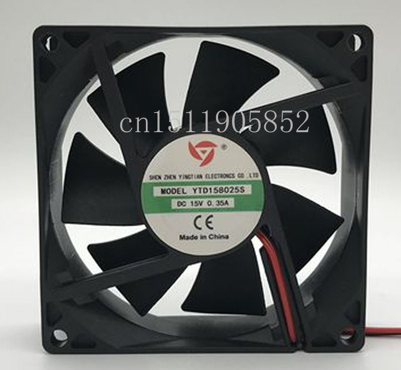 Free Shipping For YTD158025S DC 15V 0.35A 2-wire 80x80x25mm Server Cooling Fan