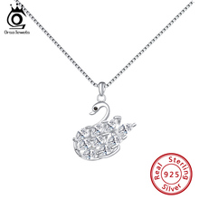 ORSA JEWELS Women 925 Sterling Sliver Swan Crystal Pendant Necklaces With AAAA Cubic Zircon Necklace  Jewelry Party Gift OSN177