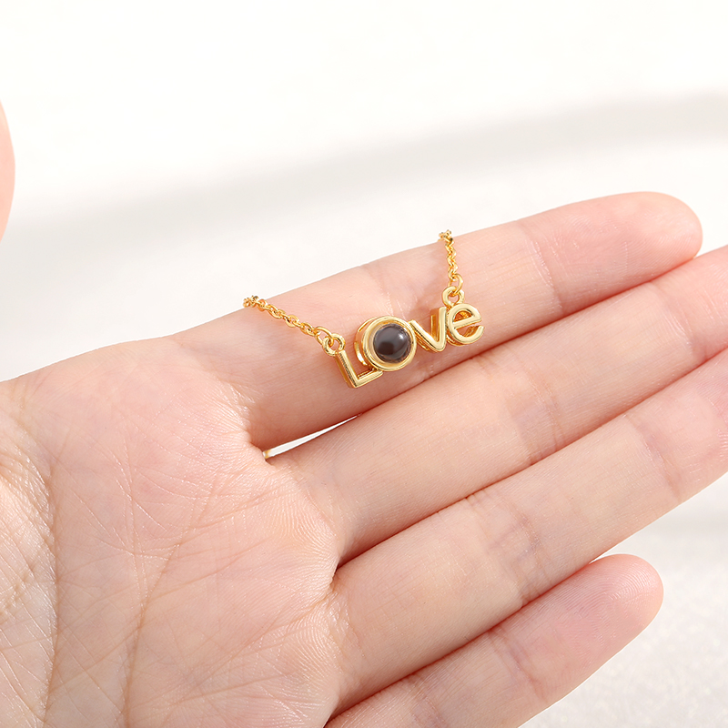 Love Heart Romantic Love Memory Wedding Necklace Rose Gold&Silver 100 languages I love you Projection Pendant Necklace