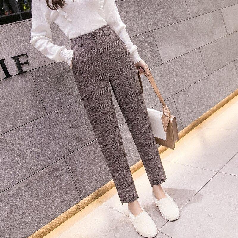 S-2xl Autumn Winter Plaid Wool Harem Pants Female 2019  Ankle-length High Waisted Pants Harem Pants Women Plus Trousers Women
