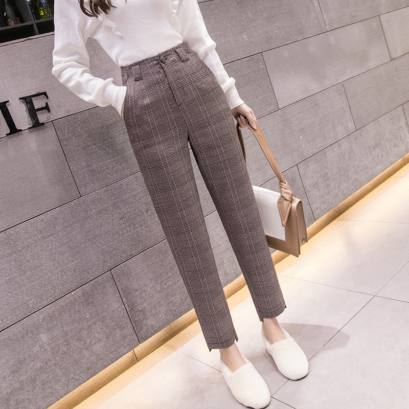 S-2xl Autumn Winter Plaid Wool Harem Pants Female 2020 Ankle-length High Waisted Pants Harem Pants Women Plus Trousers Women